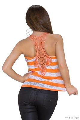 Sexy Gestreept Topje in Oranje