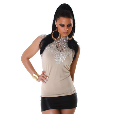 Sexy Jela London top met embroidery in beige