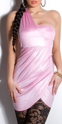 Sexy Oneshoulder minidress in Roze