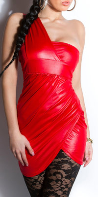 Sexy Oneshoulder minidress in Rood