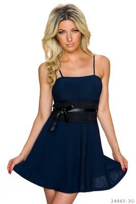 Sexy spaghetti mini jurkje van Italy Moda in donker blauw