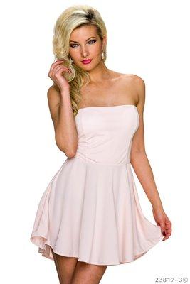 Sexy strapless mini jurkje in Roze