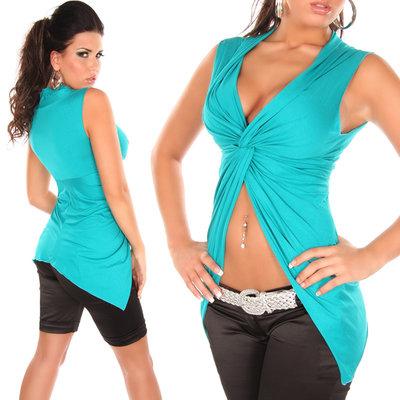 Sexy crop shirt met wrap-look in saphir