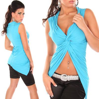 Sexy crop shirt met wrap-look in turquoise