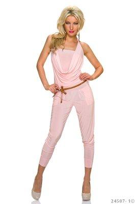 Sexy neckholder jumpsuit in roze
