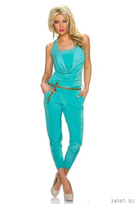 Sexy neckholder jumpsuit in turquoise