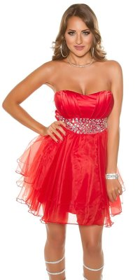 Sexy KouCla Party Cocktaildress met Rhinestones in Rood