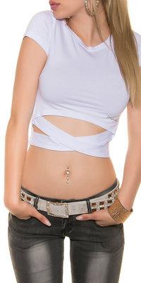 Sexy KouCla Crop Shirt in Wrap Look in Wit