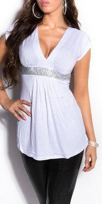 Sexy Babydoll Shirt met Korte Mouwen en Rhinestones in Wit
