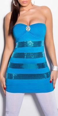 Sexy Bandeau Top met Sequin en Rhinestones in Turquoise
