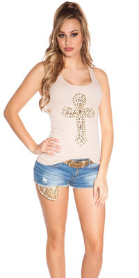 Sexy KouCla Tank Top met Cross Print in Beige