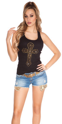 Sexy KouCla Tank Top met Cross Print in Zwart