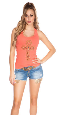 Sexy KouCla Tank Top met Cross Print in Coral