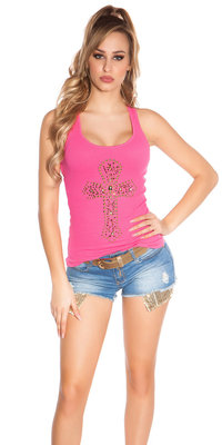 Sexy KouCla Tank Top met Cross Print in Fuschia
