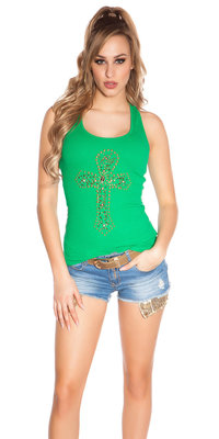 Sexy KouCla Tank Top met Cross Print in Groen