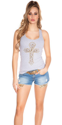 Sexy KouCla Tank Top met Cross Print in Grijs