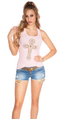 Sexy KouCla Tank Top met Cross Print in Roze