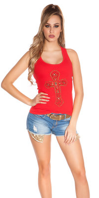 Sexy KouCla Tank Top met Cross Print in Rood