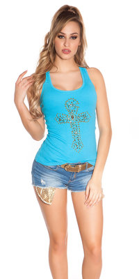 Sexy KouCla Tank Top met Cross Print in Turquoise
