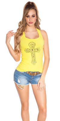Sexy KouCla Tank Top met Cross Print in Geel