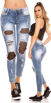 Sexy Skinny Jeans Distressed Look met Mesh