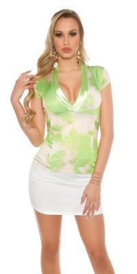 Sexy Shirt met Low Nekline Batikdesign in Groen