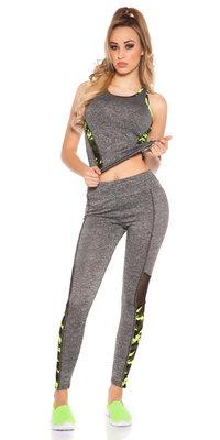 Trendy Workout Outfit Li met Top & Leggings in Geel