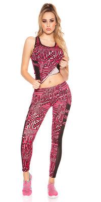 Trendy Workout Outfit Block met Topje & Leggings in Fuschia