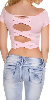 Sexy KouCla Crop Shirt met Sexy Back in Roze
