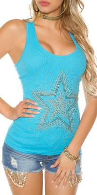 Sexy KouCla Tanktop met Studs & Ster in Turquoise