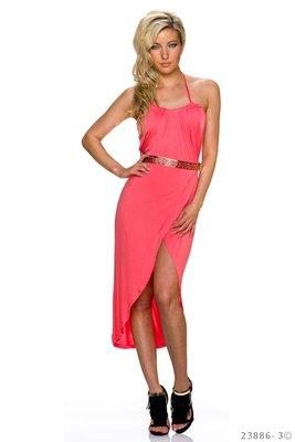 Sexy maxi jurk van Pronta Moda in coral