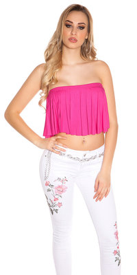 Sexy KouCla Bandeau Crop Top met Volant in Fuschia