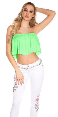 Sexy KouCla Bandeau Crop Top met Volant in Neon Groen