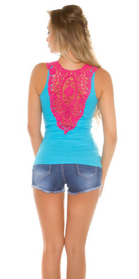 Sexy KouCla Tanktop LiLi met Embroidery in Turquoise
