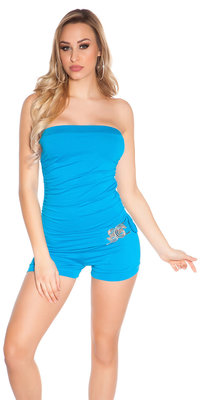 Sexy Bandeau Jumpsuit met Gesp in Turquoise