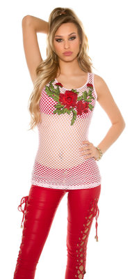 Sexy Mesh Tanktop met Flower Embroidery in Roze