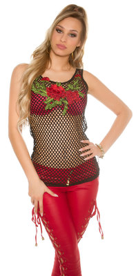 Sexy Mesh Tanktop met Flower Embroidery in Zwart