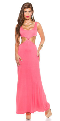 Sexy KouCla Longdress Goddess Look met CutOuts in Coral