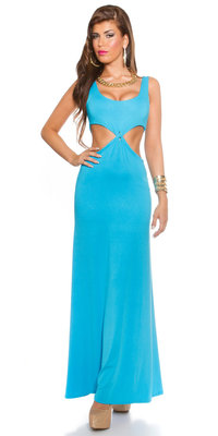 Sexy KouCla Longdress Goddess Look met CutOuts in Turquoise