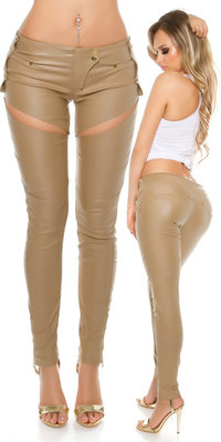 Sexy KouCla Leatherlook Broek met Sexy Cut Out in Beige