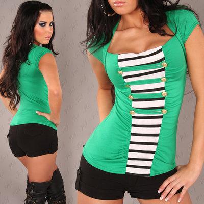 Sexy Bolero Shirt met Military Look in Groen
