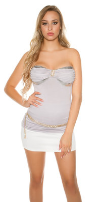 Sexy Bandeau Top met Sequins en Strass in Grijs