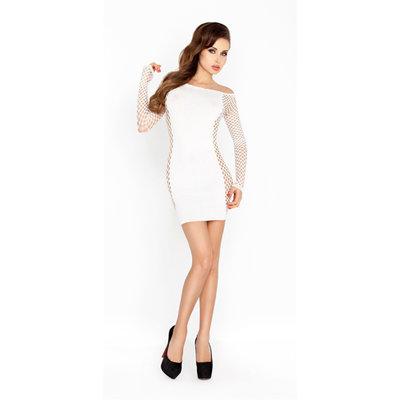 Wit mini jurk met netstof mouwen