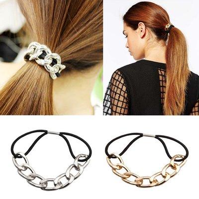 Trendy Elastisch Haarband met Ketting in Zilver