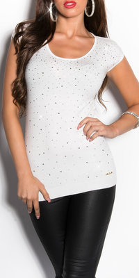 Sexy KouCla Sleeveless Jumper met Rhinestones in Wit