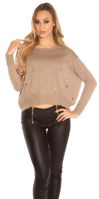 Sexy KouCla pullover met trendy Gaps in Taupe