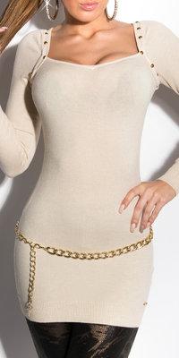 Sexy KouCla Longsweater met Studs in Beige