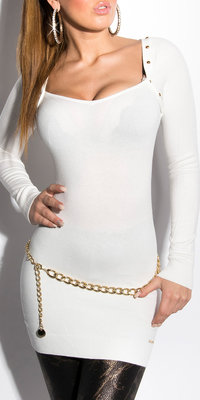 Sexy KouCla Longsweater met Studs in Creme