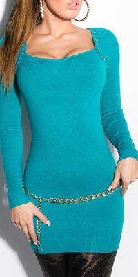 Sexy KouCla Longsweater met Studs in Saffier