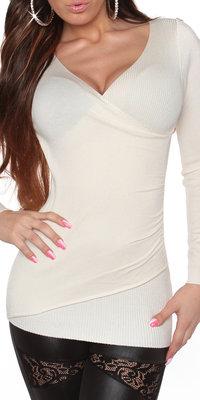 Sexy KouCla Longs Sweater in Wrap Look met Strikjes in Creme
